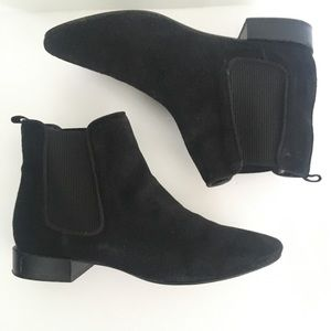 Zara Basics black suede ankle boots booties size 6